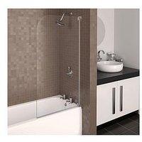 Product photograph showing Aqualux Aqua 3 Half Frame Radius Bath Shower Screen - Grey Hinge