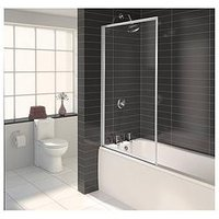 Product photograph showing Aqualux Aqua 3 Fully Framed Bath Shower Screen - White