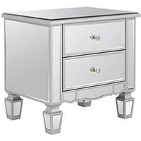 Product photograph showing Mirage 2 Drawer Mirrored Bedside Chest