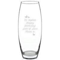 Product photograph showing Personalised Butterfly Hourglass Vase