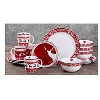 Product photograph showing Waterside Nordic Christmas Reindeer 16-piece Dinner Set