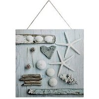 Product photograph showing Arthouse Seaside Shells Canvas Wall Art With Rope