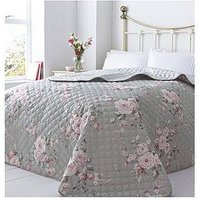 Product photograph showing Catherine Lansfield Canterbury Bedspread Throw In Grey