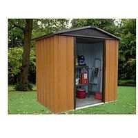 Product photograph showing Yardmaster 6 7 X 4 5 Ft Woodgrain Effect Apex Roof Metal Shed