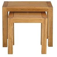 image-Luxe Collection - Grantham 100% Solid Oak Ready Assembled Nest Of 2 Tables