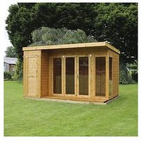 Product photograph showing Mercia 12 X 8ft Premium Garden Room Summerhouse With Side Shed