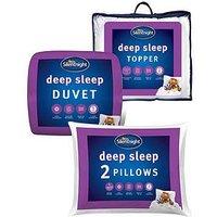 image-Silentnight Deep Sleep 13.5 Tog Duvet, Pillow Pair And Mattress Topper Bundle