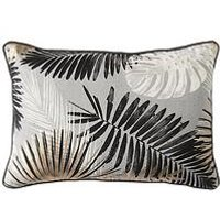 Product photograph showing Gallery Monochrome And Gold Palm Leaves Cushion