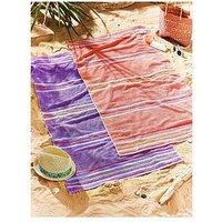 image-Catherine Lansfield Rainbow Beach Towel Pair Coral &Amp Purple