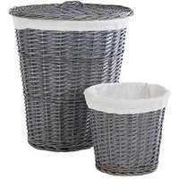 Product photograph showing Split Willow Laundry Hamper Amp Bin Set