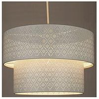 Product photograph showing Cream Metal Fretwork 2 Tier Drum Shade