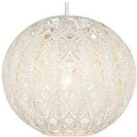 Product photograph showing Cream Metal Fretwork Globe Ne Shade