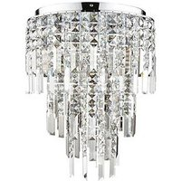 Product photograph showing Luxe Collection Filini Square-cut 3-tier Crystal Pendant Light