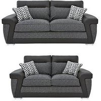 Product photograph showing Geo Fabric And Faux Leather 3-seater 2-seater Sofa Set Buy And Save