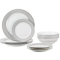 Product photograph showing Waterside Silver Band 12-piece Dinner Set