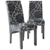 Product photograph showing Pair Of Oxford Fabric Dining Chairs