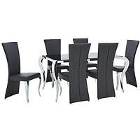 Product photograph showing Boutique 163 Cm Dining Table 6 Chairs Arrives In One Delivery