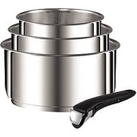 Product photograph showing Tefal Ingenio 4-piece Saucepan Set - Stainless Steel