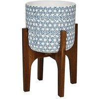 Product photograph showing Patterned Pot On Wooden Legs - Blue And White