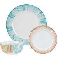 Product photograph showing Portmeirion Studio Coral Stripe 12-piece Dinner Set