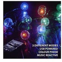 Product photograph showing Paladone Music Activated Party String Lights