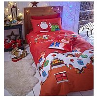 Product photograph showing Catherine Lansfield Santas Christmas Presents Duvet Set