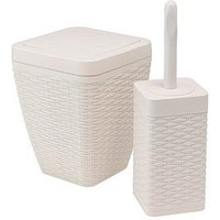 Product photograph showing Addis Faux Rattan Toilet Brush And Bin Set