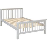 Product photograph showing Novara Small Double Frame In Grey White Or Pine - Bed Frame With Standard Mattress