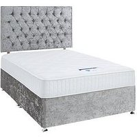 Product photograph showing Luxe Collection By Silentnight Florence 1000 Memory Divan Bed And Storage Options Includes Headboard Silver