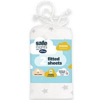 Product photograph showing Silentnight Silentnight Pk 2 Jeresy Printed Stars Fitted Moses Basket Sheets