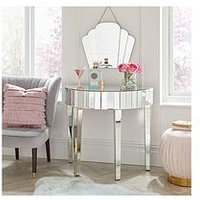Product photograph showing Michelle Keegan Home Vegas Half Moon Mirrored Occasional Console Table