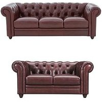 Product photograph showing Chester Leather 3 Seater 2 Seater Premium Leather Sofa Set Buy And Save