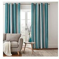 Product photograph showing Catherine Lansfield Herringbone Stripe Lined Eyelet Curtains