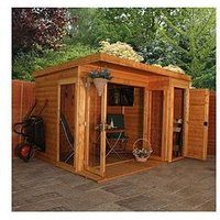 Product photograph showing Mercia 10 X 8ft Premium Garden Room Summerhouse With Side Shed - Assembly Included