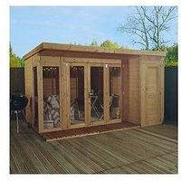 Product photograph showing Mercia 12 X 8ft Premium Garden Room Summerhouse With Side Shed - Assembly Included