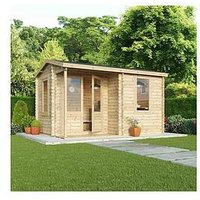 Product photograph showing Mercia 4 X 3m 28mm Tongue And Groove Home Office Log Cabin
