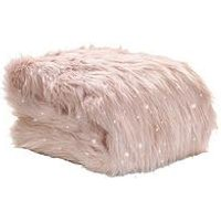 Product photograph showing Catherine Lansfield Metallic Faux Fur Throw