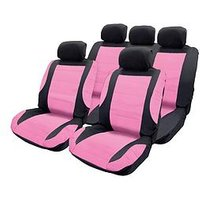 Product photograph showing Streetwize Accessories Think Pink Seat Cover Set