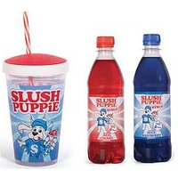 Product photograph showing Fizz Slush Puppie Syrups And Cup Gift Set - Blue Raspberry Or Cherry