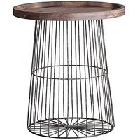 Product photograph showing Hudson Living Menzies Metal And Solid Wood Side Table