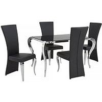 Product photograph showing Boutique 139 Cm Glass Dining Table 4 Chairs