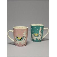 Product photograph showing Personalised Set Of 2 Llama Mugs His And Hers
