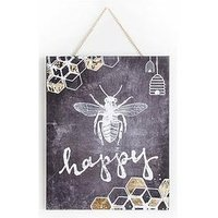 Product photograph showing Graham Brown Chalkboard Bee Happy Canvas Wall Art