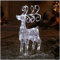 Product photograph showing Spun Acrylic Light Up Standing Reindeer Outdoor Christmas Decoration