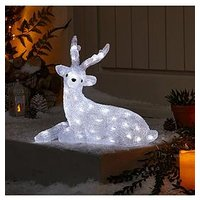 Product photograph showing Spun Acrylic Light Up Reindeer With Antlers Outdoor Christmas Decoration