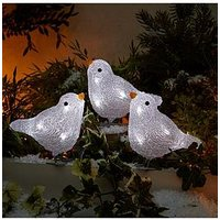 Product photograph showing Acrylic Bird Lights Outdoor Christmas Decorations Set Of 3