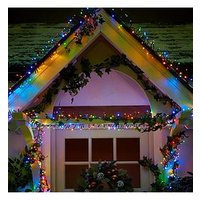 Product photograph showing 480 Multi Coloured Multi Function Indoor Outdoor Christmas Cluster Lights With Timer - 7 M