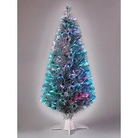 Product photograph showing 5ft Silver Fibre Optic Christmas Tree