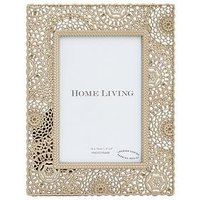 Product photograph showing Moroccan Collection Gold Painted Metal Photo Frame Ndash 4 X 6 Inch