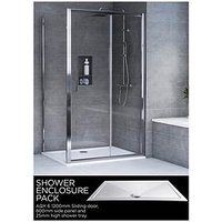 Product photograph showing Aqualux Aqx 6 Square Sliding Door Shower Enclosure And Aqua 25 Tray Bundle Kit